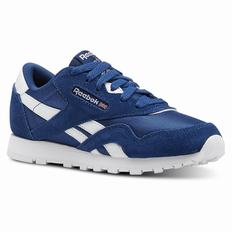 Reebok Classic Nylon - Pre-school Girls Blue/White Sneakers (735SXBYJ)